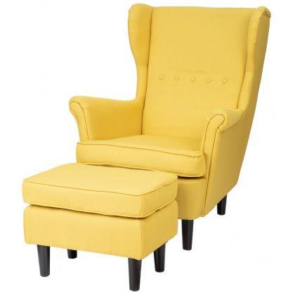 Fotel Malmo z podnóżkiem żółty