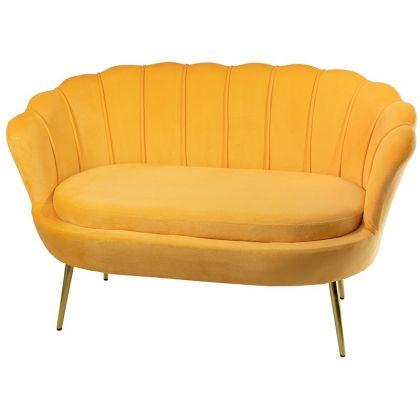 Muszelka sofa żółta- welur