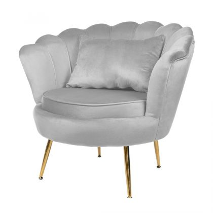 Muszelka fotel szary złote...